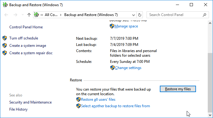 Restauration de fichiers à partir de Windows Backup