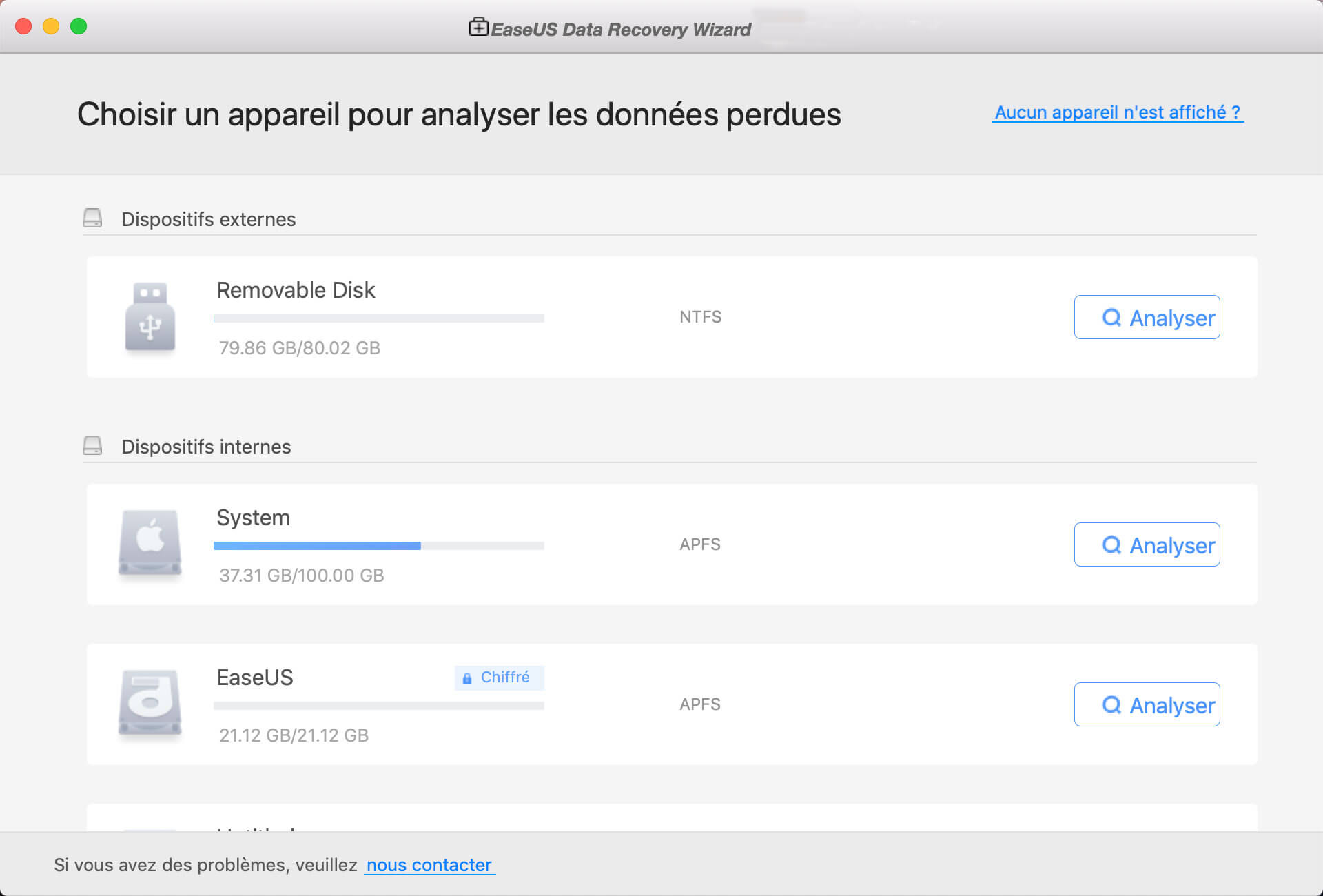 fonctionner EaseUS Data Recovery Wizard for Mac sur votre Mac